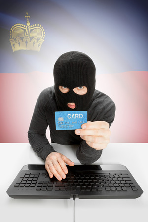 law breaking: Cybercrime concept with flag on background - Liechtenstein Stock Photo