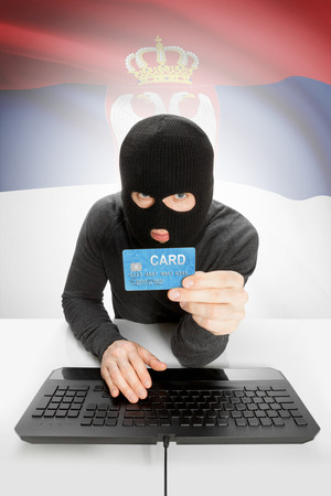 law breaking: Cybercrime concept with flag on background - Serbia Stock Photo