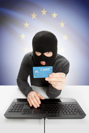 law breaking: Cybercrime concept with flag on background - European Union - EU