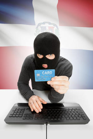 law breaking: Cybercrime concept with flag on background - Dominican Republic