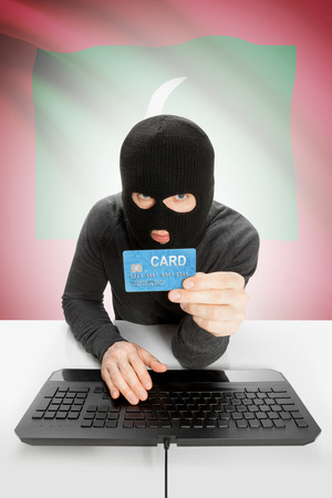 law breaking: Cybercrime concept with flag on background - Maldives Stock Photo