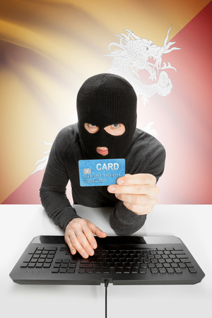 law breaking: Cybercrime concept with flag on background - Bhutan Stock Photo