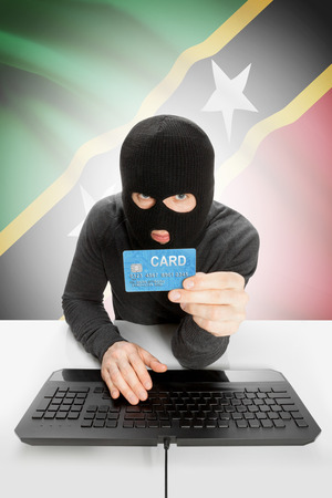 law breaking: Cybercrime concept with flag on background - Saint Kitts and Nevis