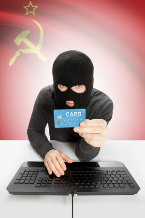 law breaking: Cybercrime concept with flag on background - Soviet Union - USSR