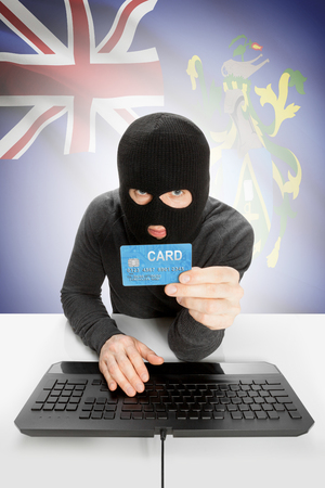 law breaking: Cybercrime concept with flag on background - Pitcairn Island Stock Photo