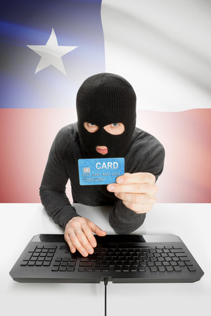 law breaking: Cybercrime concept with flag on background - Chile