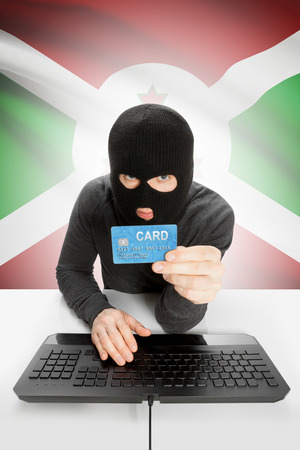 law breaking: Cybercrime concept with flag on background - Burundi