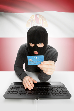 law breaking: Cybercrime concept with flag on background - French Polynesia Stock Photo