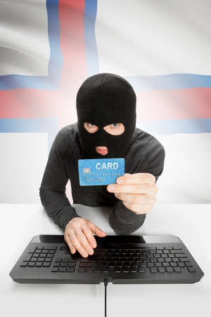 law breaking: Cybercrime concept with flag on background - Faroe Islands