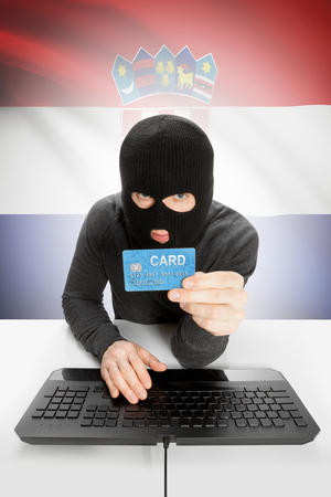 law breaking: Cybercrime concept with flag on background - Croatia