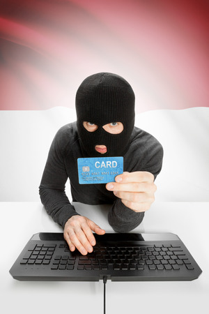 law breaking: Cybercrime concept with flag on background - Monaco Stock Photo