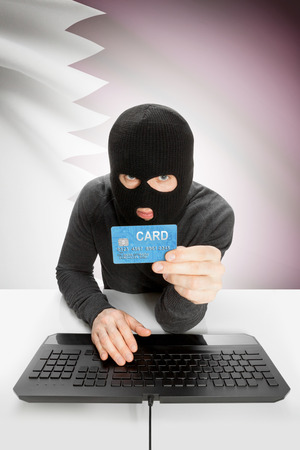 law breaking: Cybercrime concept with flag on background - Qatar Stock Photo