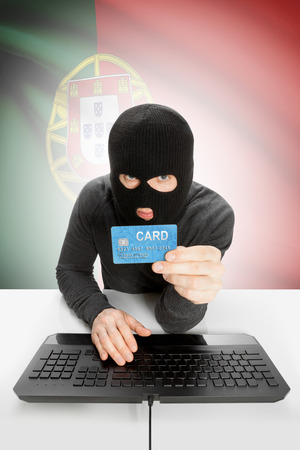 law breaking: Cybercrime concept with flag on background - Portugal