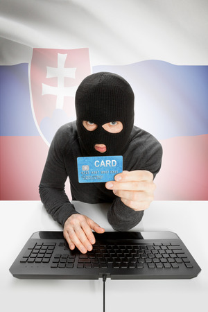 law breaking: Cybercrime concept with flag on background - Slovakia Stock Photo