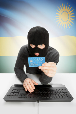 law breaking: Cybercrime concept with flag on background - Rwanda