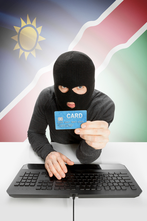 law breaking: Cybercrime concept with flag on background - Namibia Stock Photo