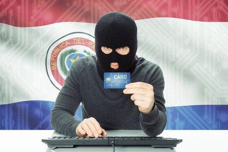 cybercrime: Cybercrime concept with flag on background - Paraguay Stock Photo