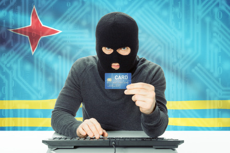 cybercrime: Cybercrime concept with flag on background - Aruba Stock Photo