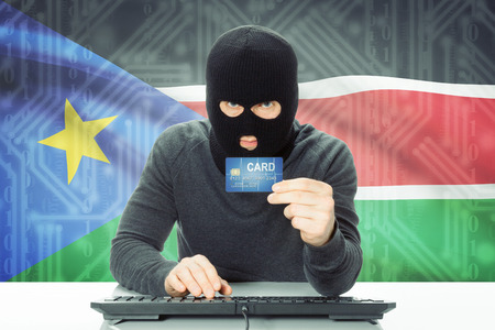 south sudan: Cybercrime concept with flag on background - South Sudan
