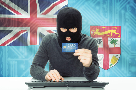 fijian: Cybercrime concept with flag on background - Fiji Stock Photo