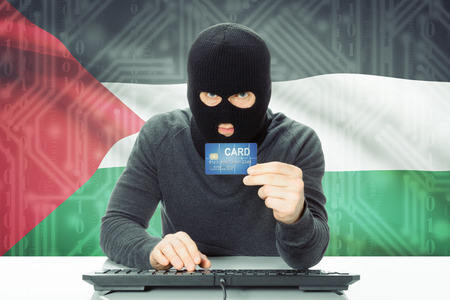 cybercrime: Cybercrime concept with flag on background - Palestine Stock Photo