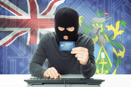 pitcairn: Cybercrime concept with flag on background - Pitcairn Island Stock Photo