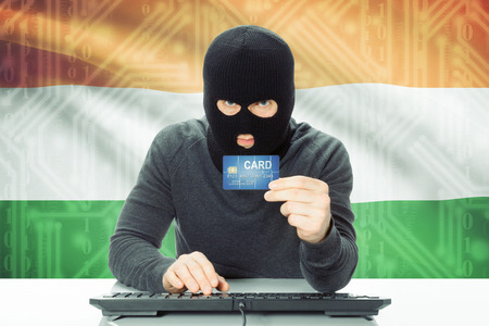 cybercrime: Cybercrime concept with flag on background - India