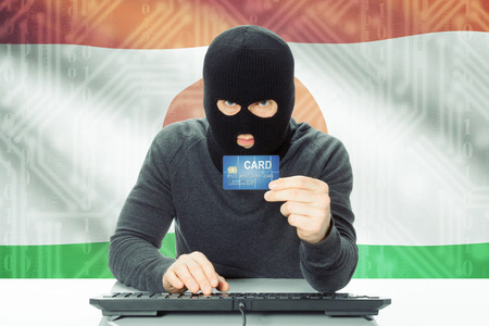 cybercrime: Cybercrime concept with flag on background - Niger