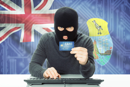 helena: Cybercrime concept with flag on background - Saint Helena