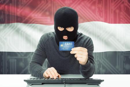 yemen: Cybercrime concept with flag on background - Yemen