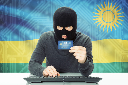 cybercrime: Cybercrime concept with flag on background - Rwanda