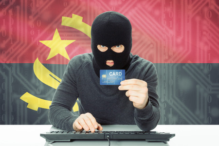 angola: Cybercrime concept with flag on background - Angola