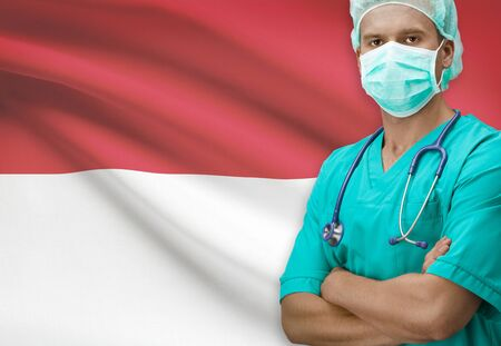 Surgeon with flag on background - Indonesia