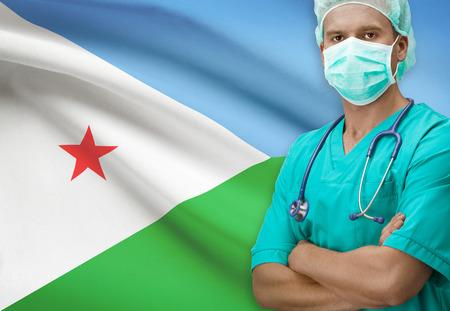 djibouti: Surgeon with flag on background - Djibouti