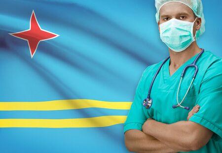 aruba flag: Surgeon with flag on background - Aruba Stock Photo