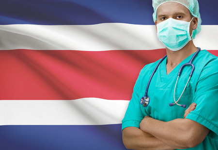 costa rican flag: Surgeon with flag on background - Costa Rica