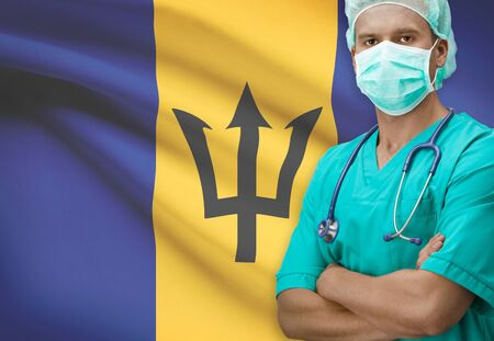 Surgeon with flag on background - Barbados