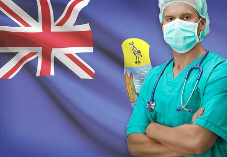 helena: Surgeon with flag on background - Saint Helena