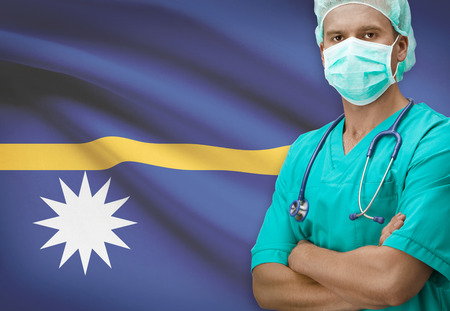 nauru: Surgeon with flag on background - Nauru