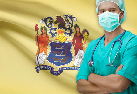 new jersey: Surgeon with USA states flags on background - New Jersey