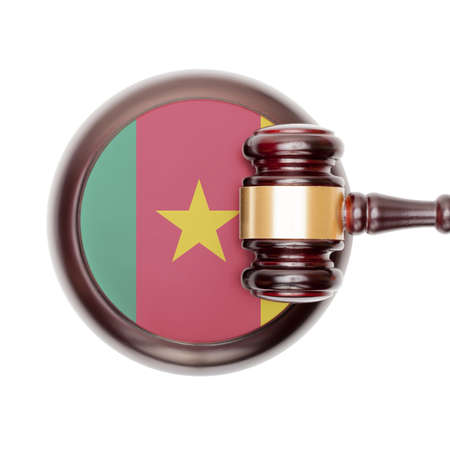 cameroonian: National legal system concept with flag on sound block  - Cameroon