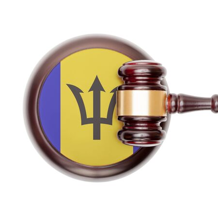 barbadian: National legal system concept with flag on sound block  - Barbados