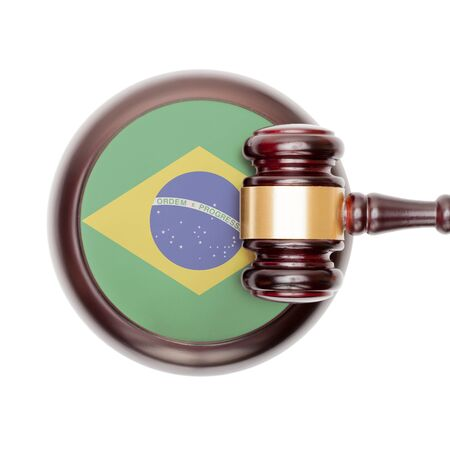 law of brazil: National legal system concept with flag on sound block  - Brazil
