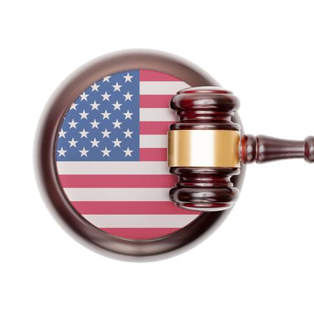 legal: National legal system concept with flag on sound block  - United States