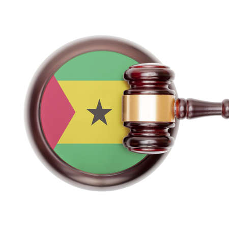 tome: National legal system concept with flag on sound block  - Sao Tome and Principe Stock Photo