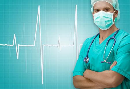 dark skinned: Dark skinned surgeon with ECG sign on background Stock Photo