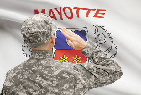 mayotte: National military forces with flag on background conceptual series - Mayotte Stock Photo