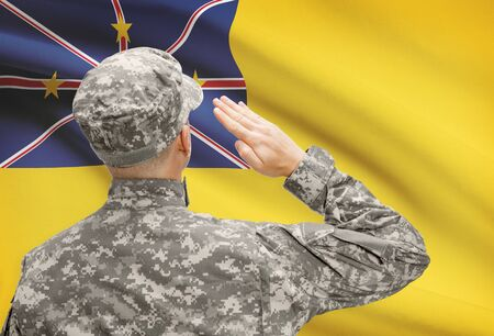 niue: National military forces with flag on background conceptual series - Niue