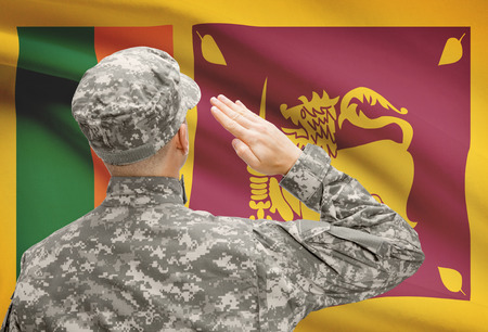 sri lankan flag: National military forces with flag on background conceptual series - Sri Lanka