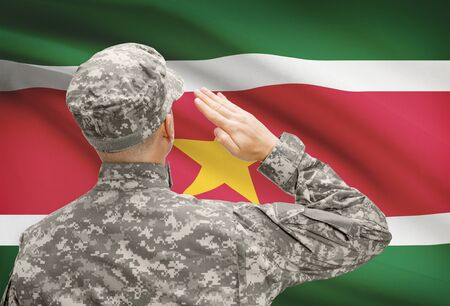 sovereignty: National military forces with flag on background conceptual series - Suriname
